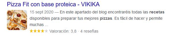Google Rich Snippets | pizza fit Vikika Costa
